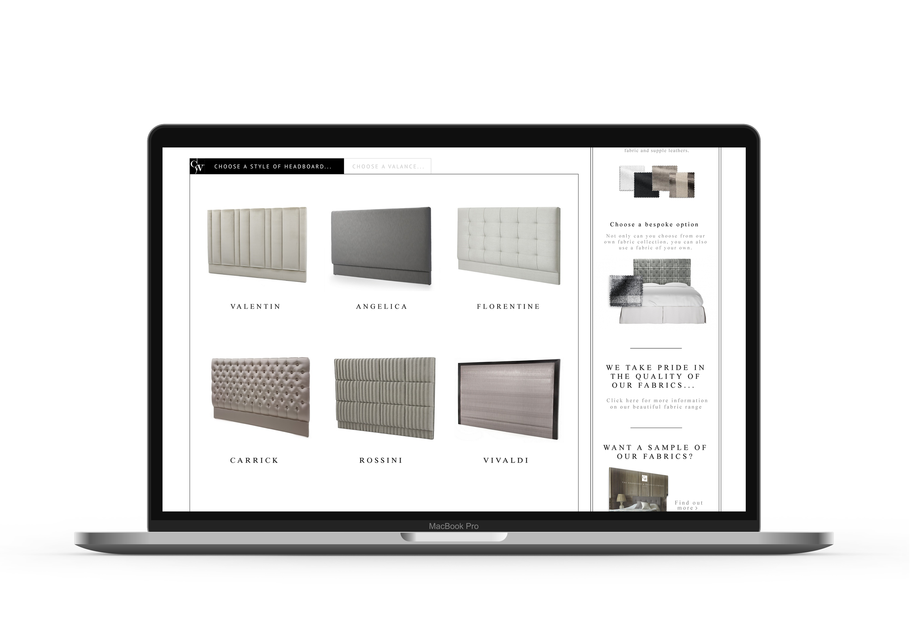 Headboard and Valance Web Design